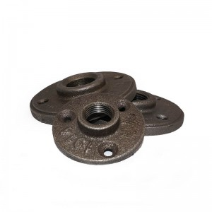Black cast malleable iron floor flange decoration fittings 4 holes table legs wall mounted flange