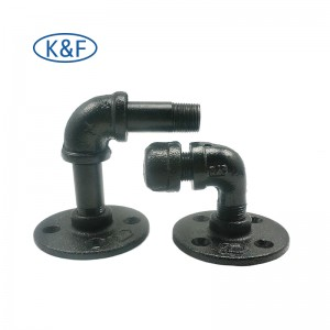 3/4-inch Black Malleable Cast Iron Pipe Fittings Floor Flange Threaded Iron Fittings for Home Decoration