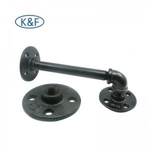 Black Cast Iron Fittings Pipe Nipple Elbow Tee Connector Floor Flange Wall Mounted for Shelves Bracket