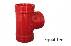 1 inch grooved ductile iron pipe fittings tee with red paint Picture Show