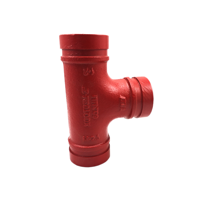 3/4 inch Groove RAL3000 red Tee for fire protect