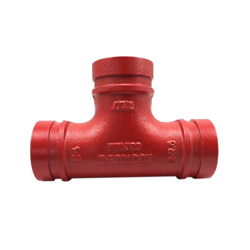 3/4 inch Grooved red epoxy paint Tee for fire protect