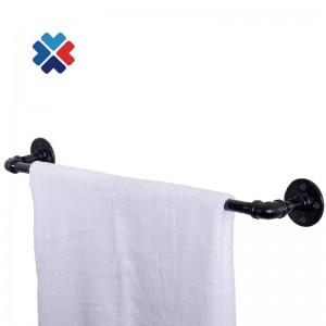 Black cast pipe fitting cap home hardware retro floor flange toilet paper holder with shelf
